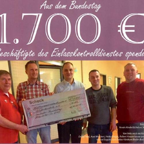 Kolleg/innen des Einlasskontrolldienstes des Bundestages spenden 1.700€ für krebskranke Kinder