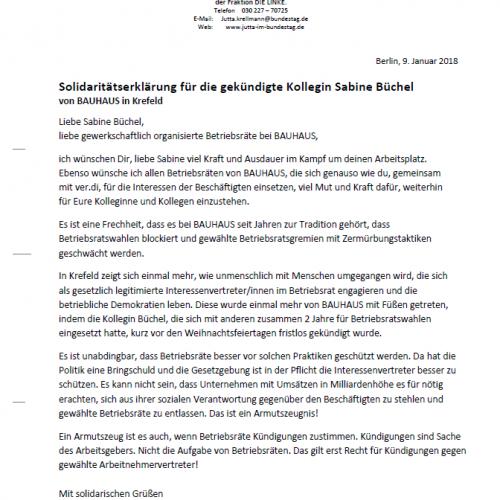 Solidarität mit der Kollegin Sabine Büchel von Bauhaus in Krefeld